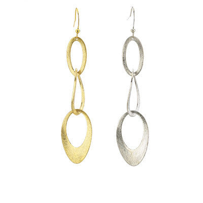Brushed Three Ring Earrings - Girl Intuitive