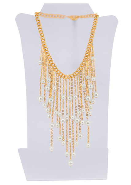 Waterfall of Chains and Waterpearls Bib Necklace