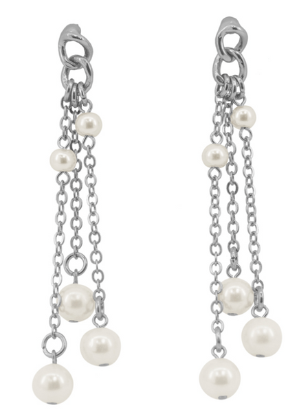 Waterfall of Chains and Waterpearls Earrings silver
