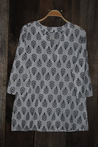 White Cotton Tunic Top and Black Print