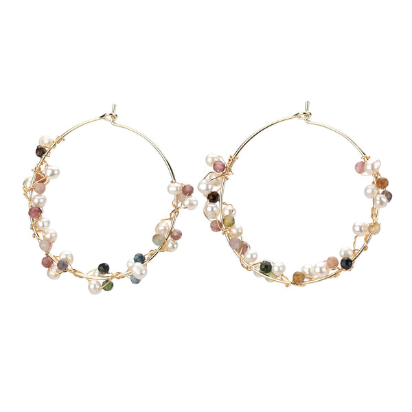 Wire Wrap Pearl Beaded Hoop Earrings