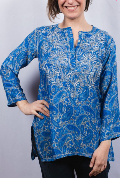 Women's Embroidered Cotton Tunic Top in French Blue
