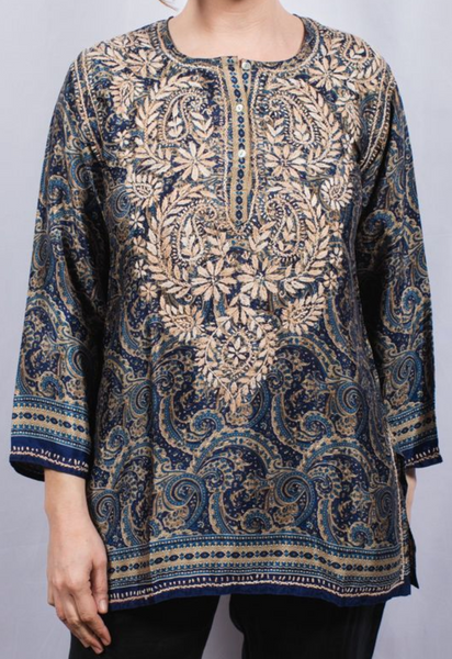 Women's Embroidered Silk Tunic Top in Navy
