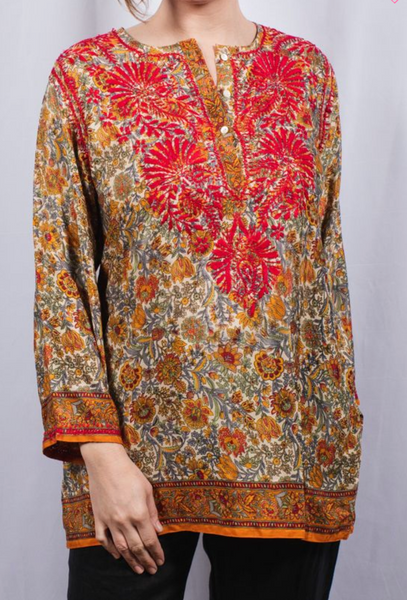Women's Embroidered Silk Tunic Top in Red