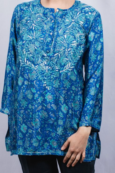 Women's Embroidered Silk Tunic Top in Turquoise Blue