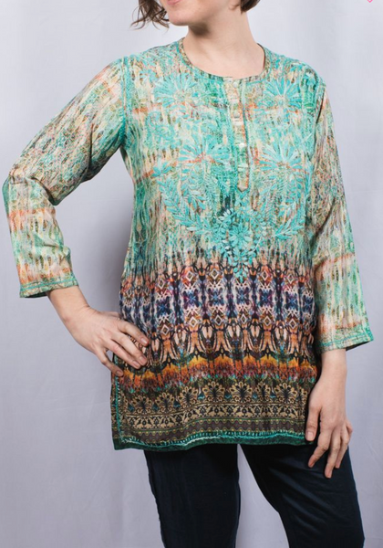Women's Embroidered Silk Tunic Top in Turquoise