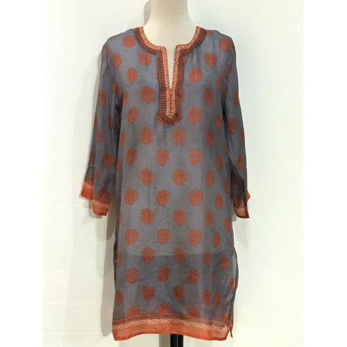 Women's Long Silk Tunic Dress in Orange