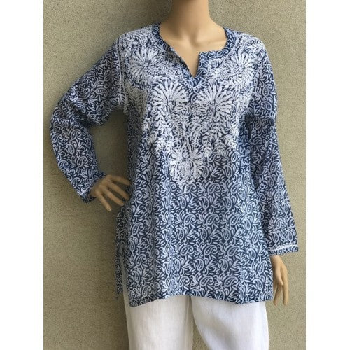 Women's Embroidered Tunic Top in Blue
