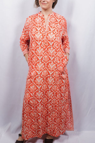 Wood-Block Printed Maxi Kaftan Dress