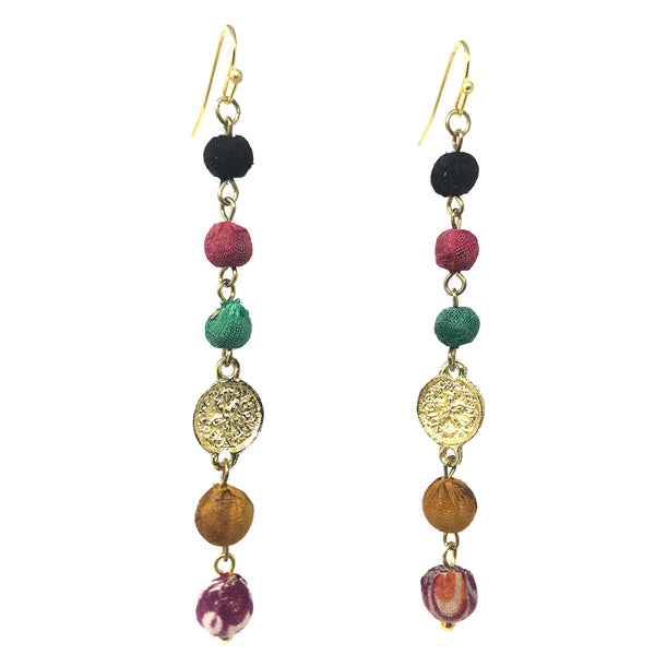 WorldFinds Kantha Raindrop Linear Earrings