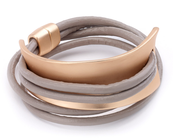 Wrap Bracelet with Cuff taupe