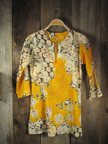 Yellow Asian Print Tunic
