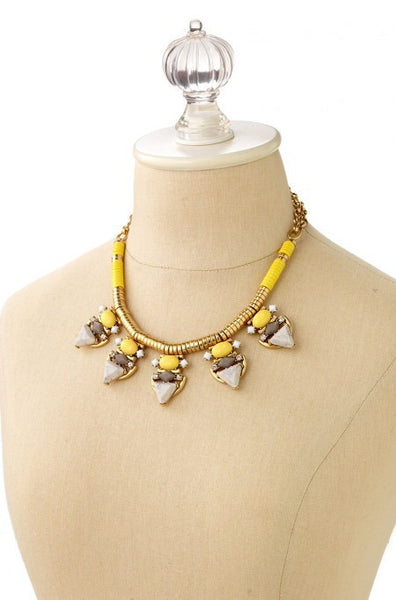Yellow Cabochon Statement Necklace display