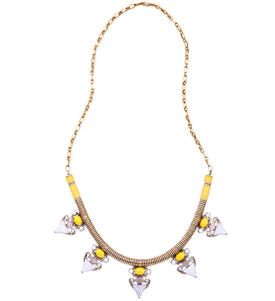 Yellow Cabochon Statement Necklace long