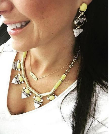 Yellow Cabochon Statement Necklace