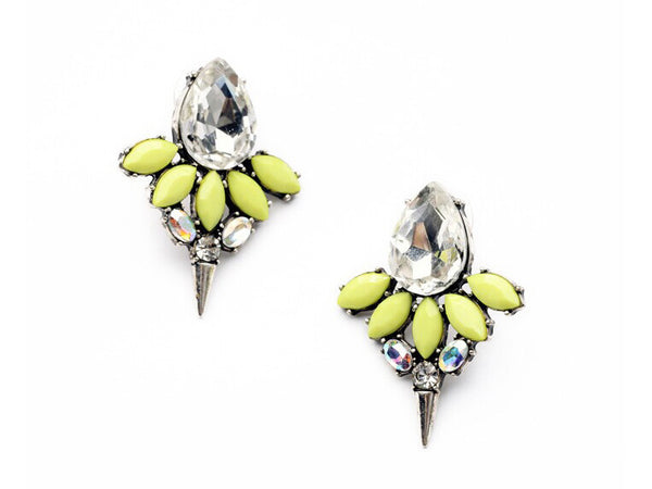 Yellow Crystal Studs