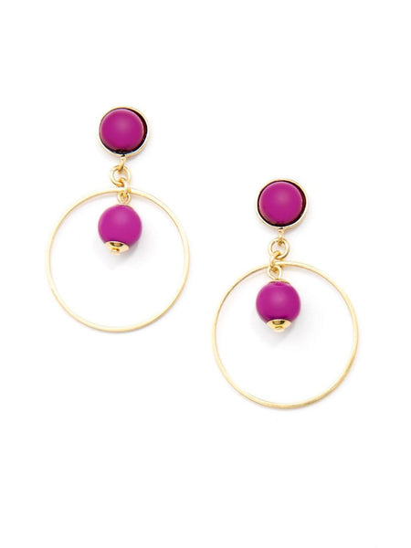 Zenzii  Luxor Beaded Drop Earrings plum