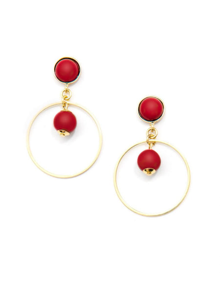 Zenzii  Luxor Beaded Drop Earrings red