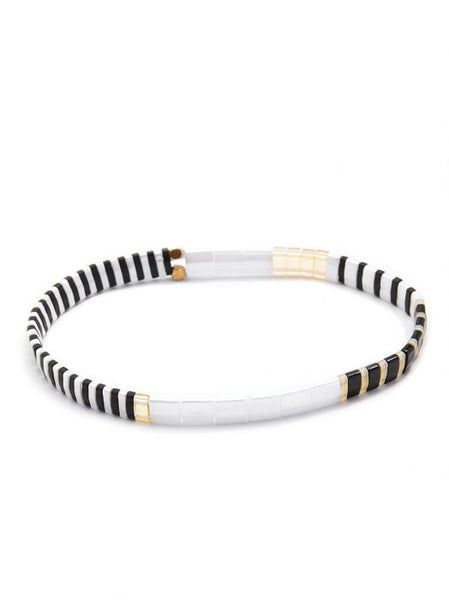 Zenzii Striped Beaded Stretch Bracelet black and white