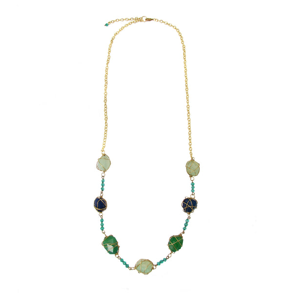 Oceanic Agate Long Necklace