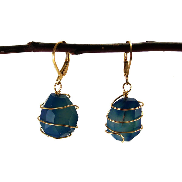 Ava Agate Wrap Earrings - Cobalt - Girl Intuitive