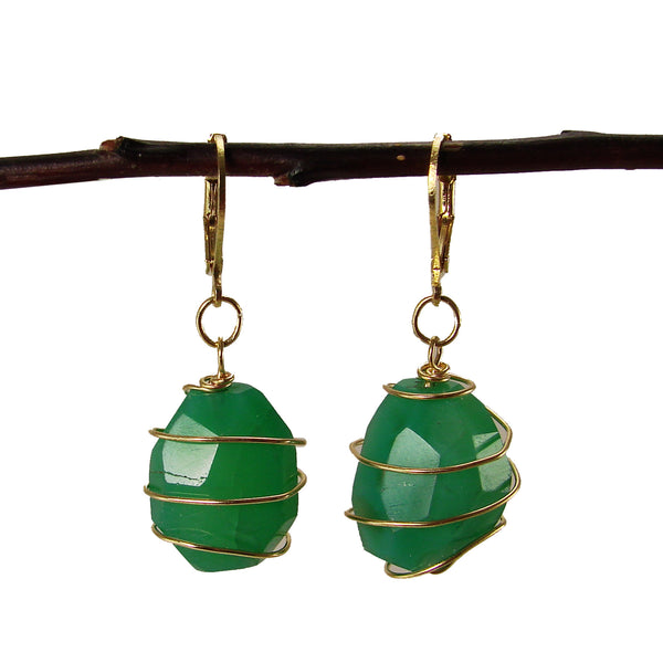 Ava Agate Wrap Earrings - Emerald - Girl Intuitive