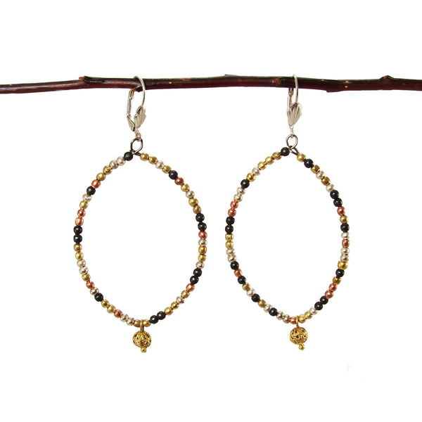 Almond Ombre Metallic Beaded Earrings - Girl Intuitive