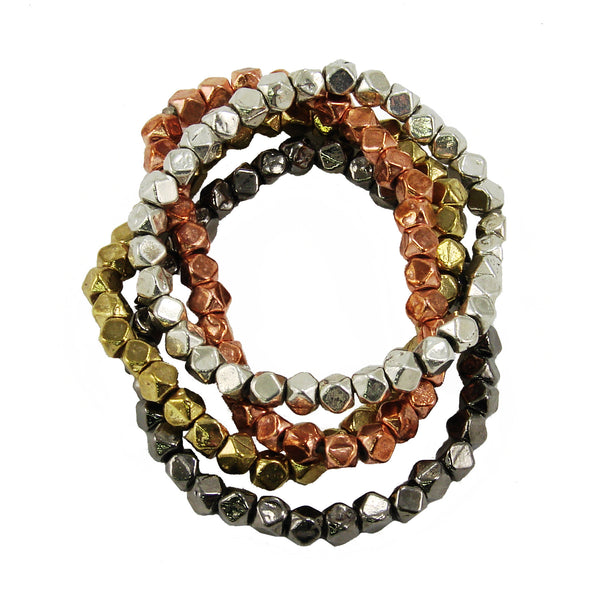Metallic Layering Beaded Bracelet