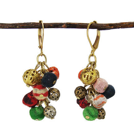 Kantha Fabric Cluster Dangle Earrings