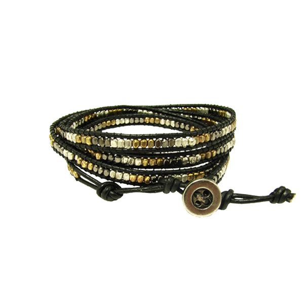 Mixed Metal Wrap Leather Bracelet
