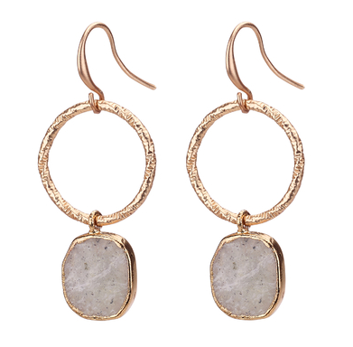 Agate Stone Drop Hoop Earrings gold