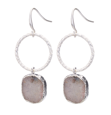 Agate Stone Dr op Hoop Earrings silver