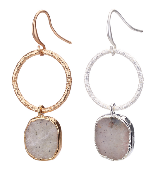 Agate Stone Drop Hoop Earrings