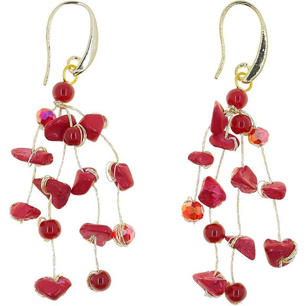 Akha Floating Earrings in Lava Red