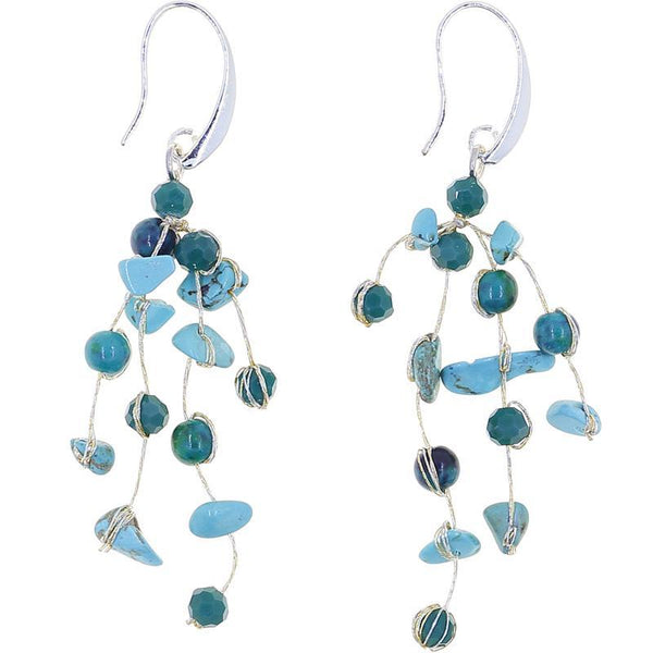 Akha Floating Earrings in Turquoise