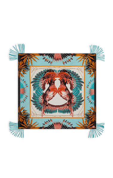 Amenapih Exotic Birds Turquoise Scarf
