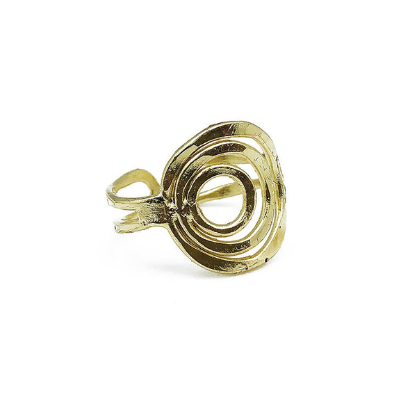 Ring - Anju Gold Plated Three Layered Circles Adjustable Ring - Girl Intuitive - Anju Jewelry -