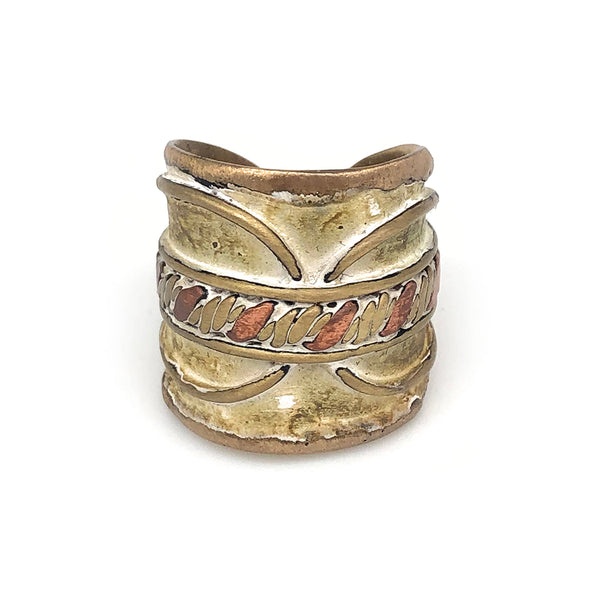 Ring - Anju Brass Patina Adjustable Cuff Ring in Cream With Twisted Metal - Girl Intuitive - Anju Jewelry -