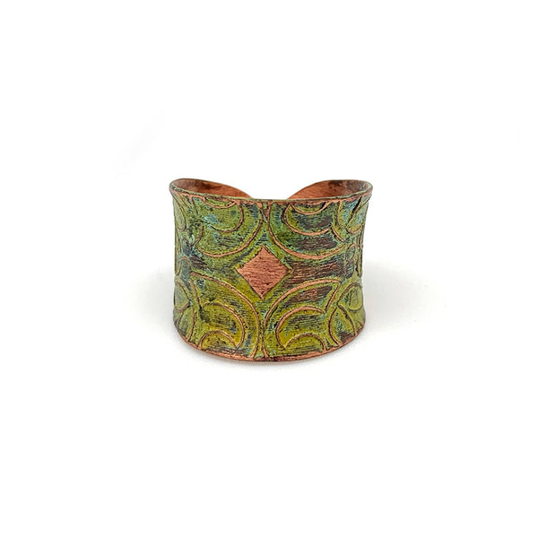 Ring - Anju Copper Patina Ring in Light Green Floral - Girl Intuitive - Anju Jewelry -