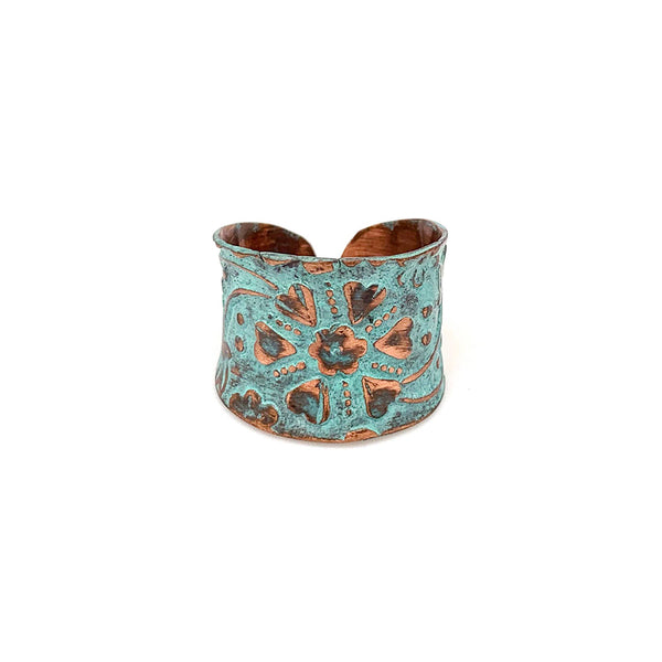Ring - Anju Copper Patina Ring in Turquoise Floral and Vine - Girl Intuitive - Anju Jewelry -