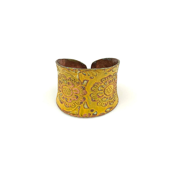 Ring - Anju Copper Patina Ring in Yellow Decorative Flower - Girl Intuitive - Anju Jewelry -