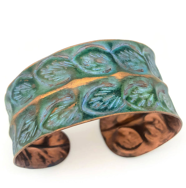 bracelet - Anju Copper Patina Rows of Leaves Bracelet - Girl Intuitive - Anju Jewelry -