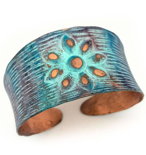 bracelet - Anju Copper Patina Rustic Flower Copper Patina Bracelet - Girl Intuitive - Anju Jewelry -