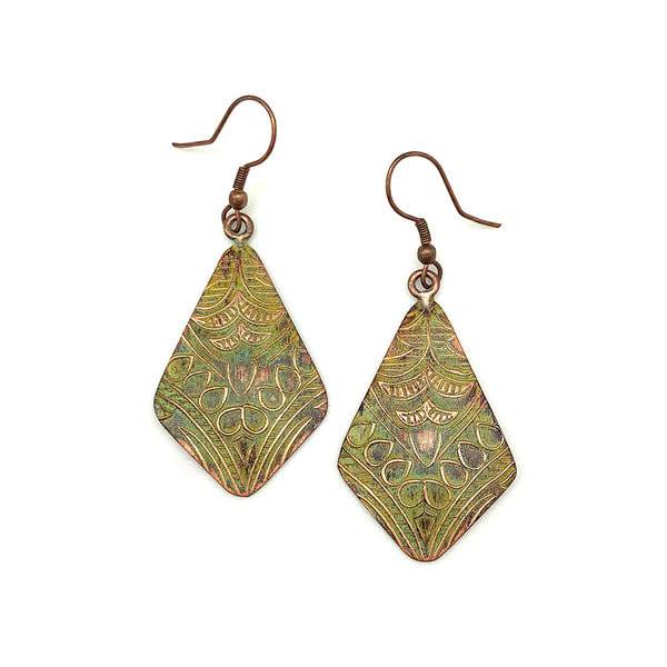 earrings - Anju Copper Patina Earrings in Light Green Floral - Girl Intuitive - Anju Jewelry -