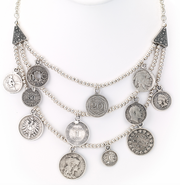 Antique Coins Multi Row Silver Necklace