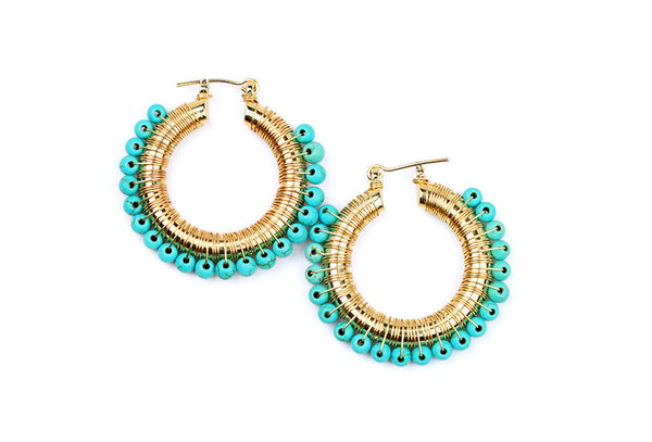 earrings - Wired Turquoise Hoops - Gold Plated - Girl Intuitive - Goia -