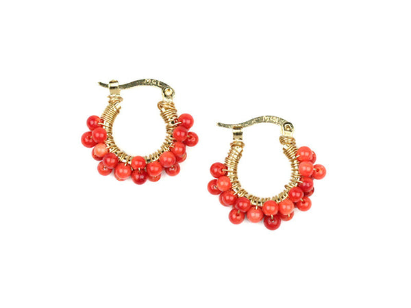 Wired Corals Hoops - Red