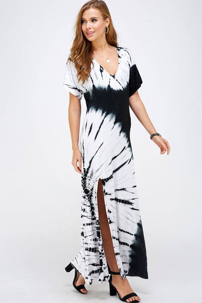 Bamboo Leaf Tie-Dye Fold Maxi Dress