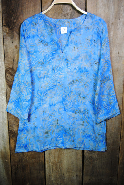 Batik Tunic in Blue Palms