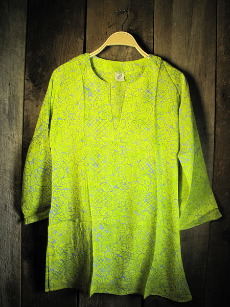 Batik Tunic in Bright Lime